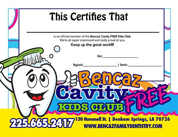 Kids no cavity club certificate